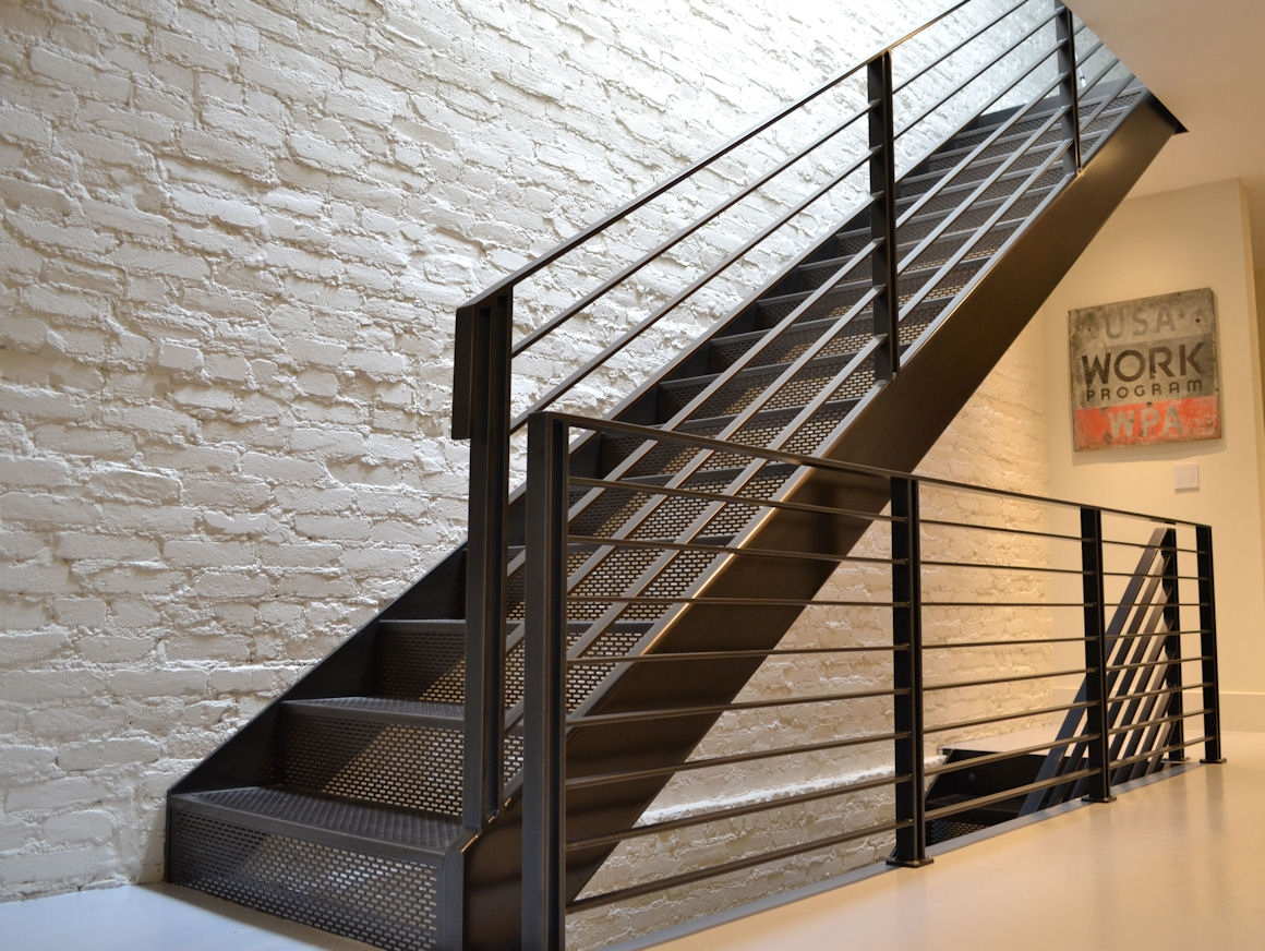 Perforated Metal Stairs Stair Treads Accurate Perforating Company | Metal Stairs With Wood Treads | Straight Steel | Single Steel Stringer | I Beam | Metal Railing | Timber