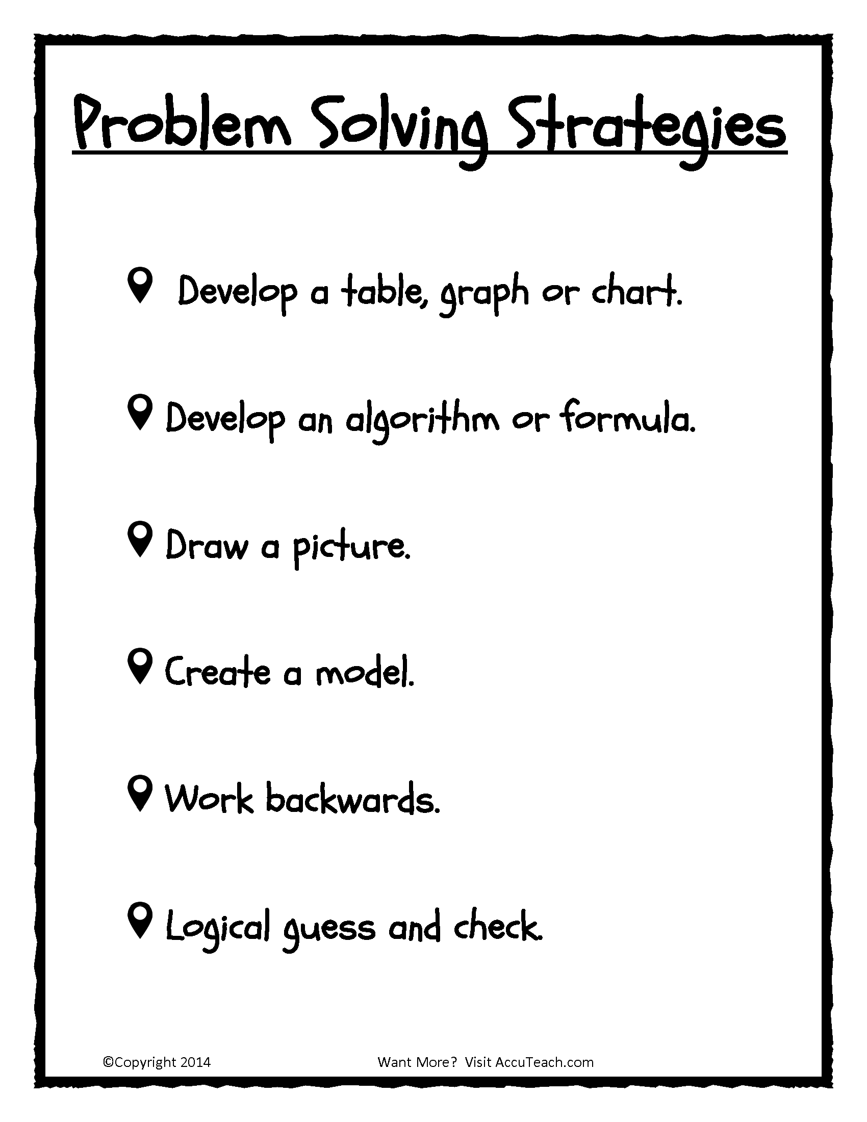 Problem Solving Strategies Math Math Problem Solving