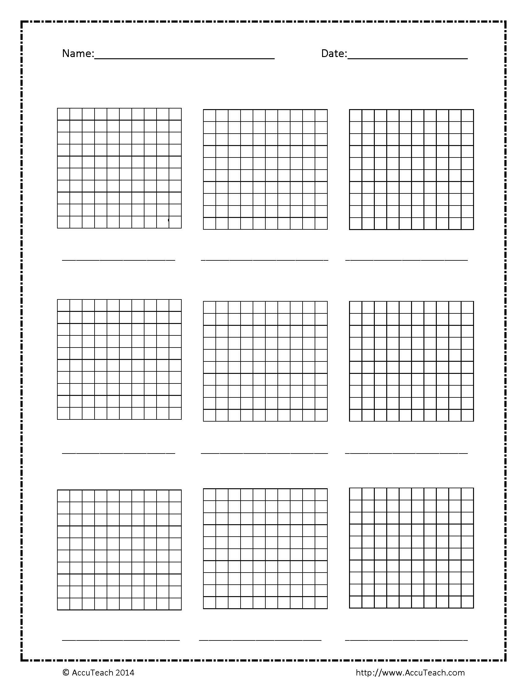 Best Printable Hundredths Grid