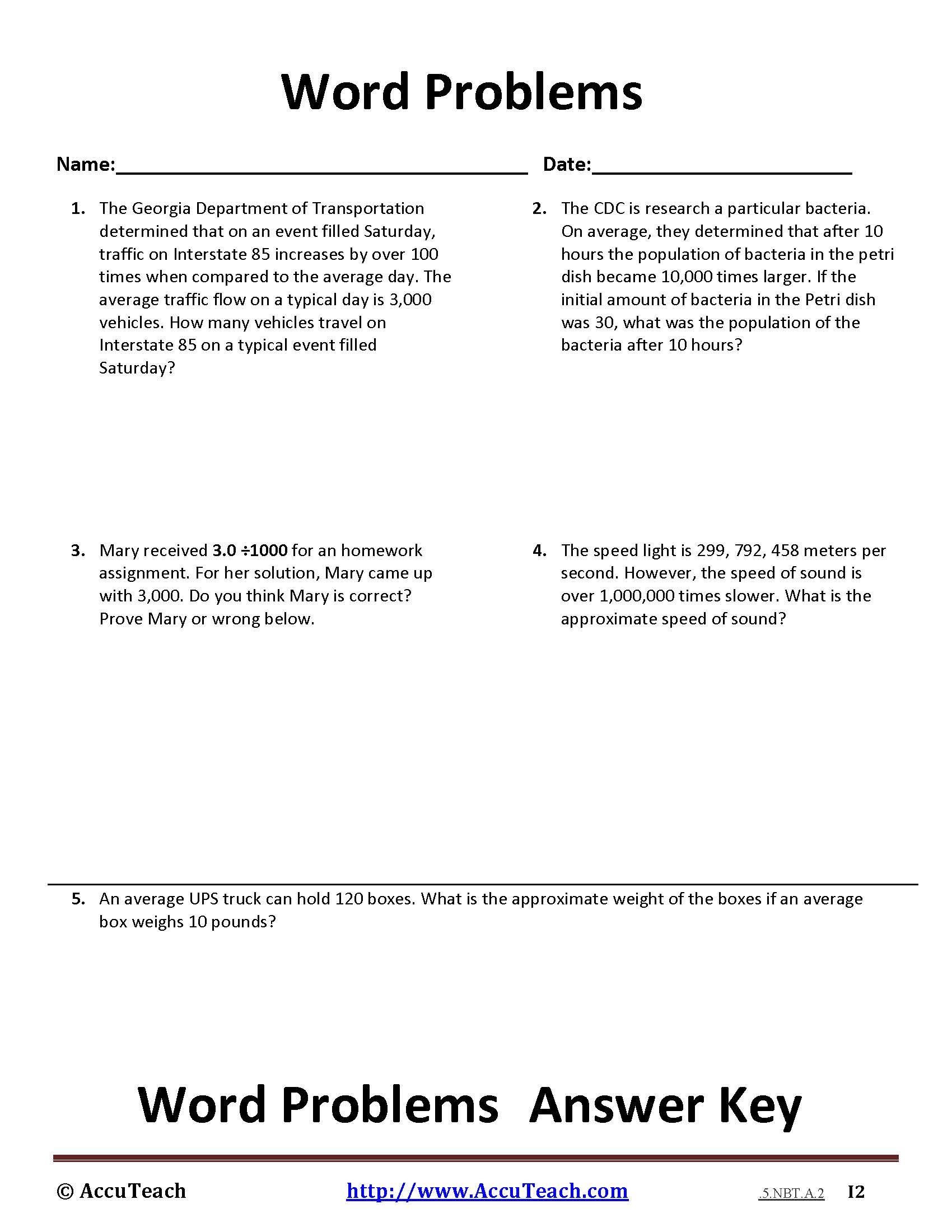 5 Nbt A 2 Common Core Story Problems Activity Sheet 7 Accuteach