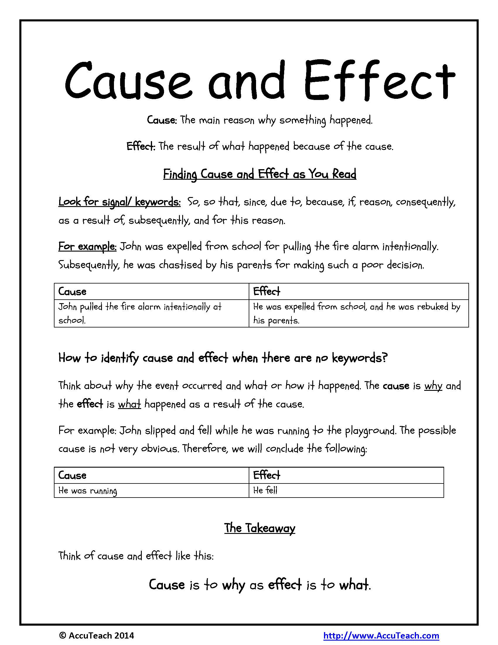 Cause Effect Reading Comprehension Worksheet