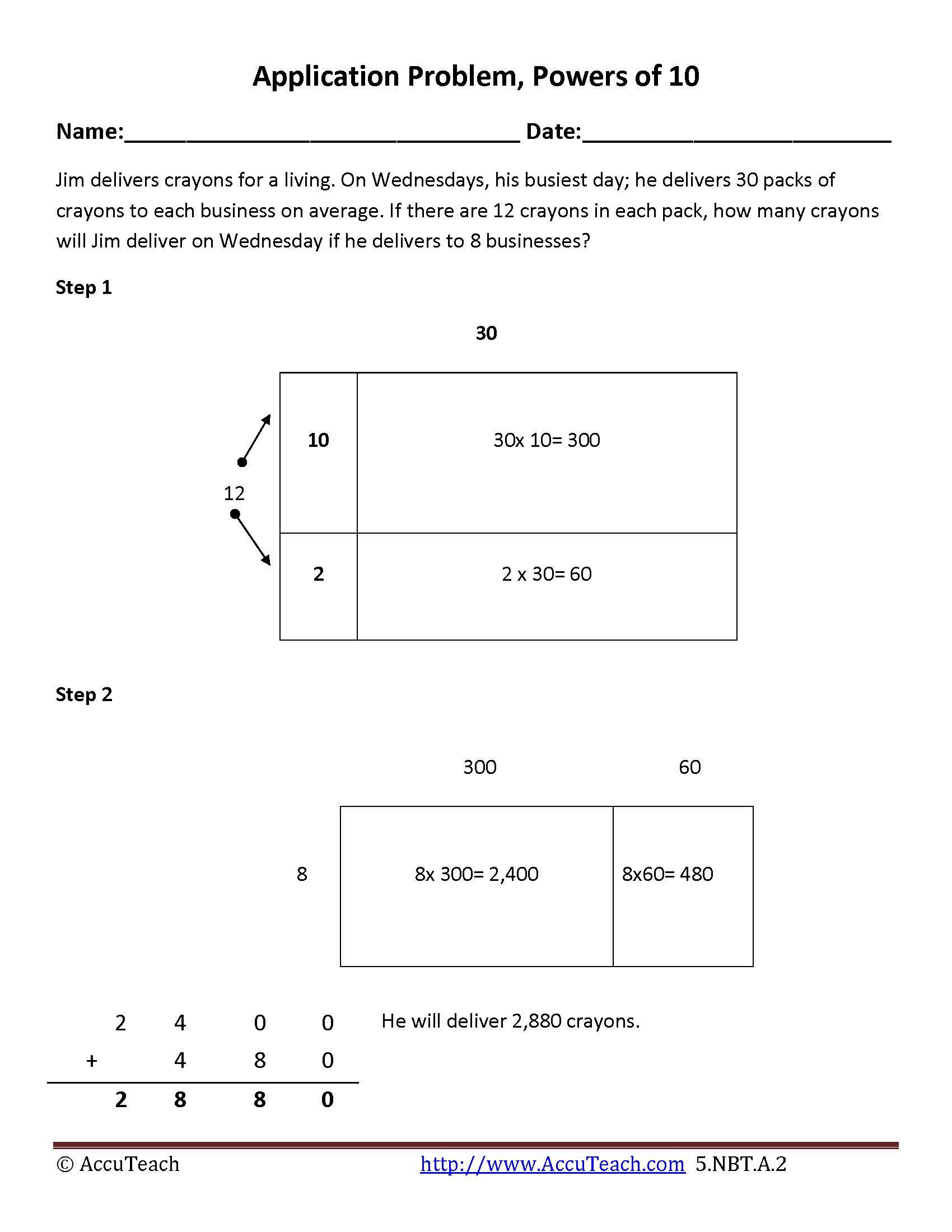5 Nbt A 2 Area Model Multiplication Utilizing The Powers