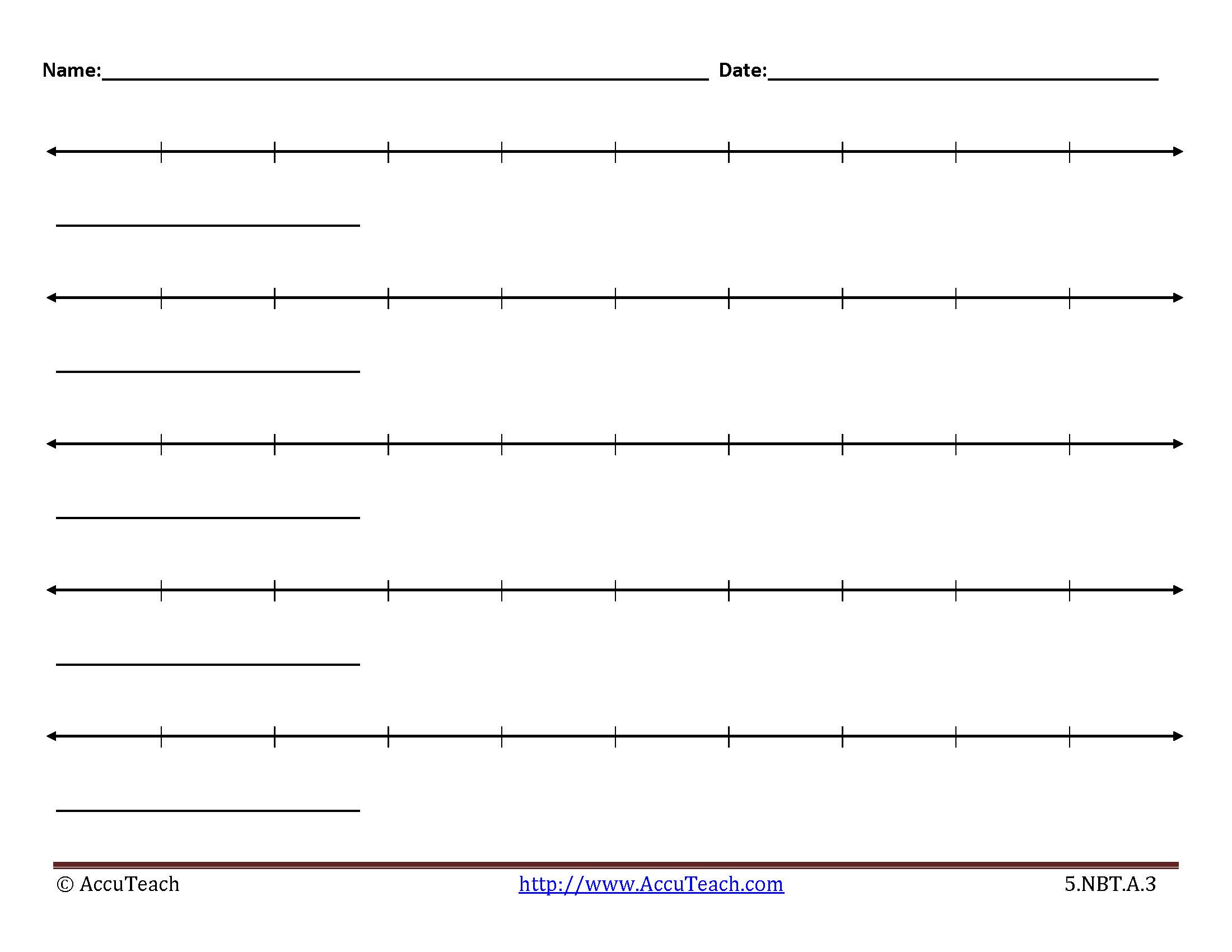 5 Nbt A 3 Lesson Activity Printable Blank Number Lines 11