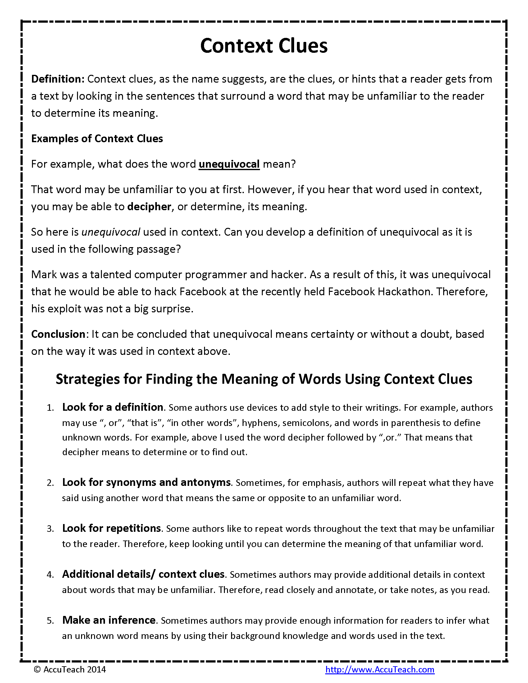 Context Clues Reading Comprehension Strategy One Pager