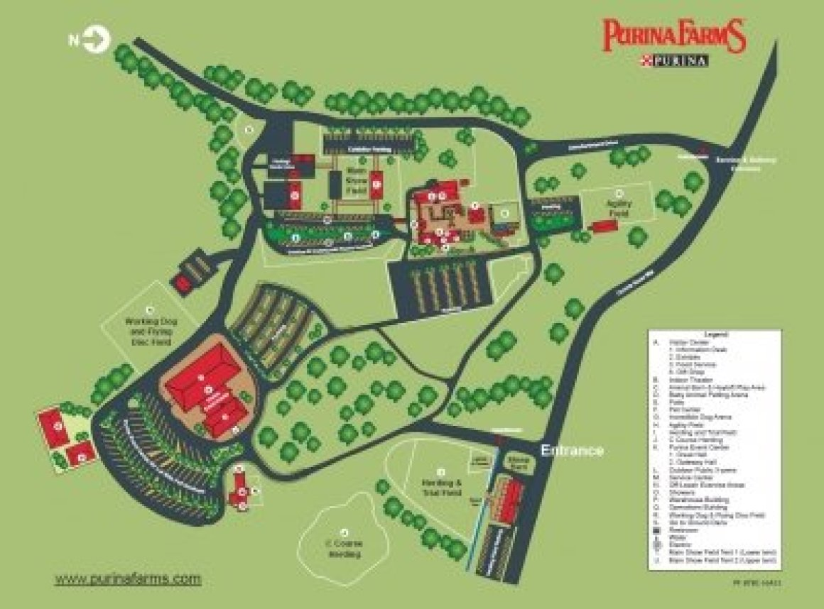 Map and legend of Purina Farms.