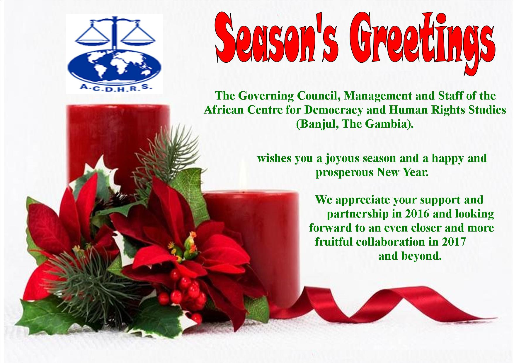 SEASONS GREETINGS The African Centre For Democracy And