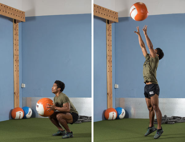 Squat to press throw