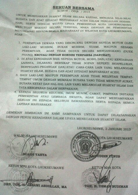 Isi surat edaran Pemerintah Kota Lhokseumawe