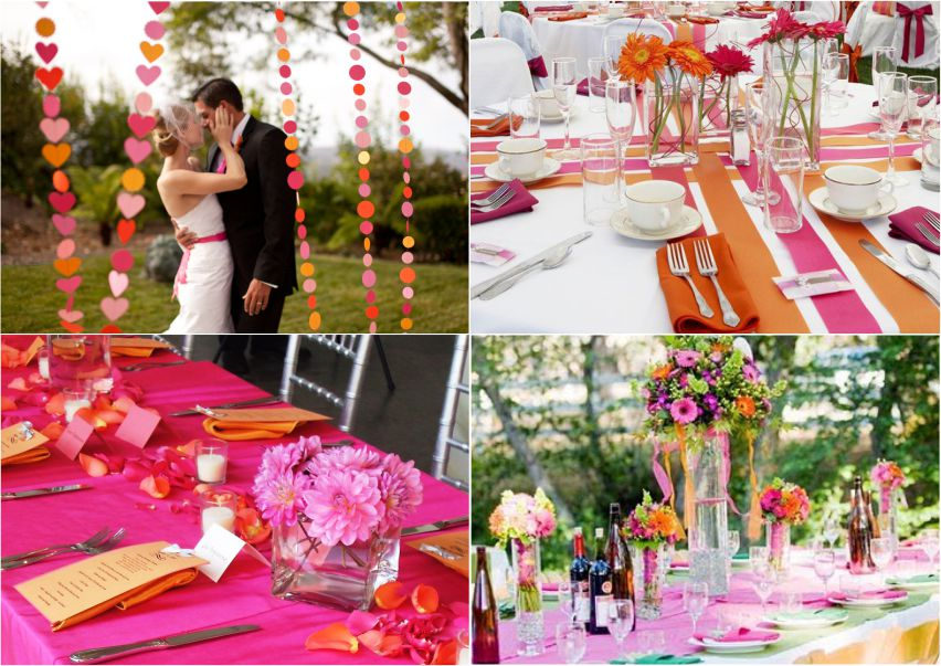 Decoração de casamento ao ar livre Laranja e Rosa