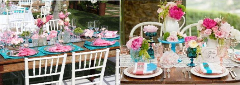 Decoração de casamento ao ar livre turquesa e pink