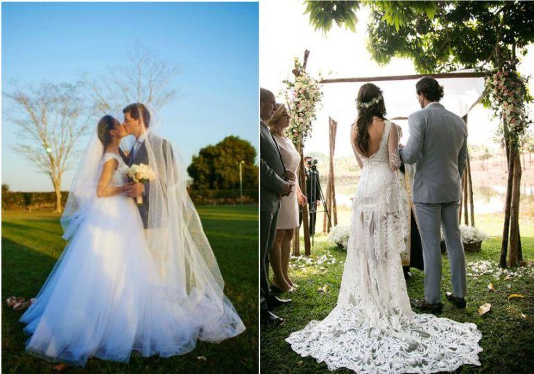Vestido de noiva no campo longo