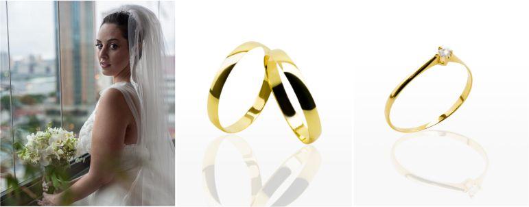 Aliança e anel de Noivado para Noiva Clássica
