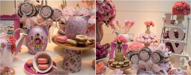 Decoração de mesa do bolo para Chá de Panela