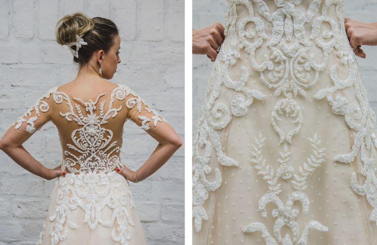 Vestido de noiva com pérolas