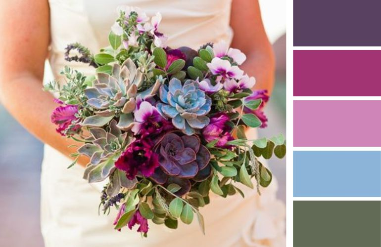 Buquê de noiva roxo e azul
