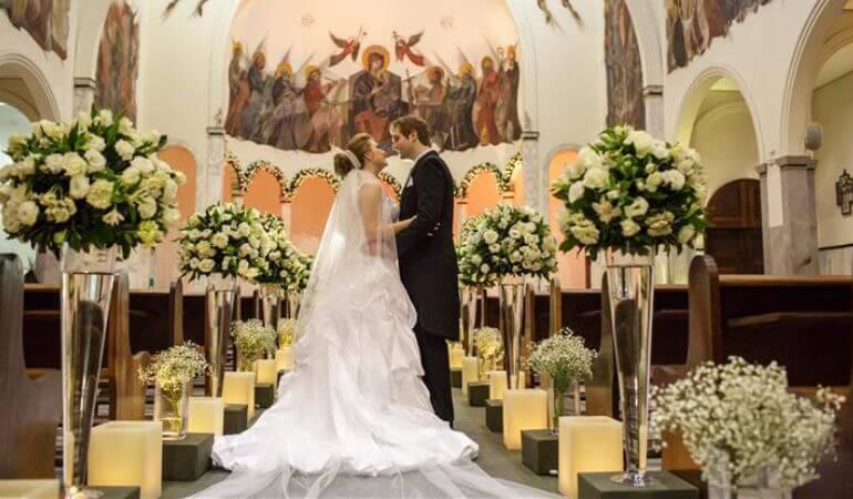 Velas na decoração da cerimônia de casamento