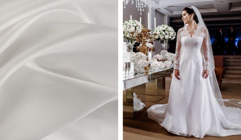 Gazar de seda no vestido de noiva