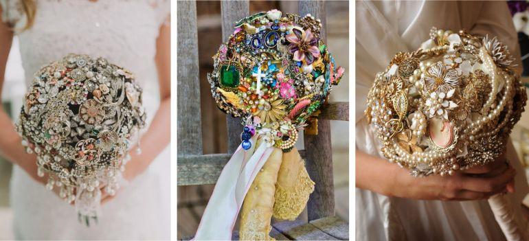 Buquê de noiva com broches