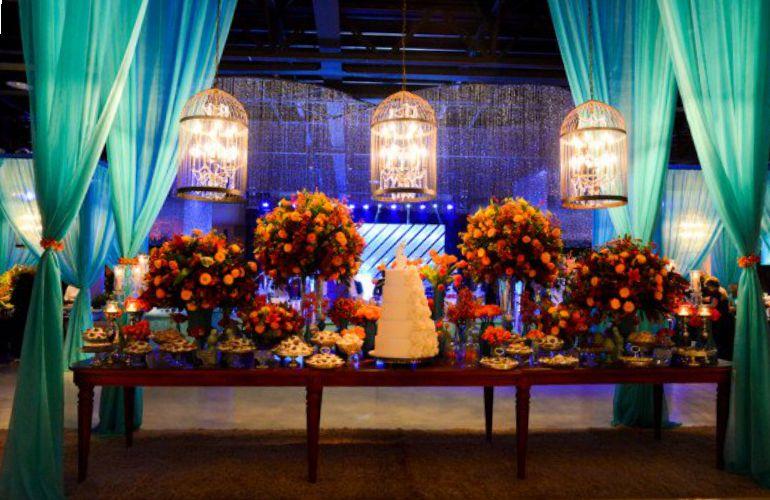 Decoração de Casamento azul e Laranja