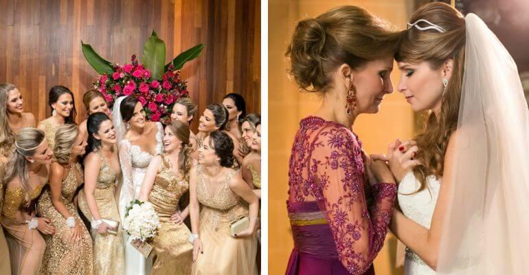 Madrinhas em dourado e mãe da noiva de roxo