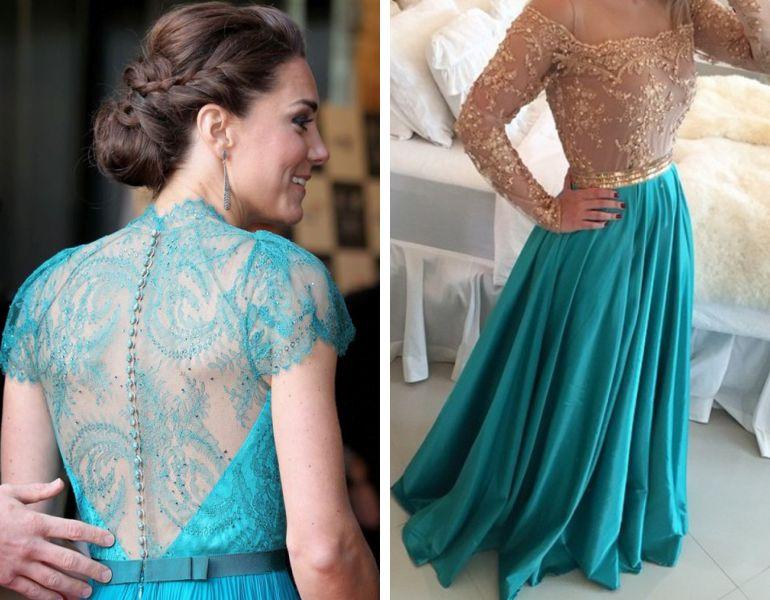 Famosas com vestido azul tiffany