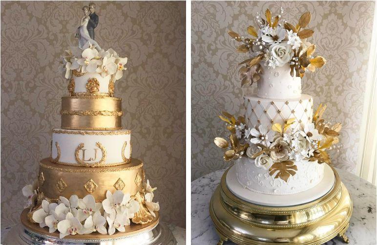 Bolo de Casamento dourado