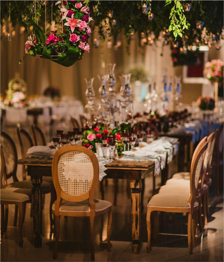 Decoração de casamento rosa e dourado
