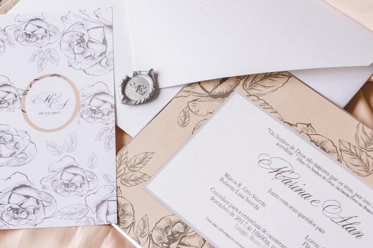 Convite de casamento Alan Ruschel chapecoense e Marina