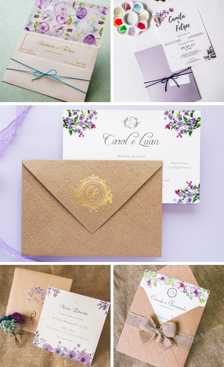 Convites de casamento ultra violet