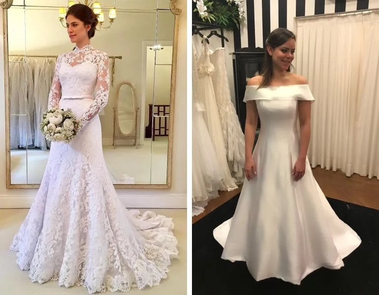 vestido de noiva com renda e vestido de noiva liso