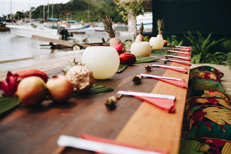 Decoração de Centro de mesa com frutas