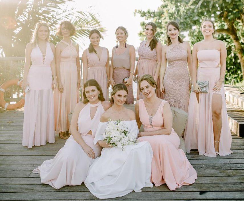 Madrinhas de rosa claro