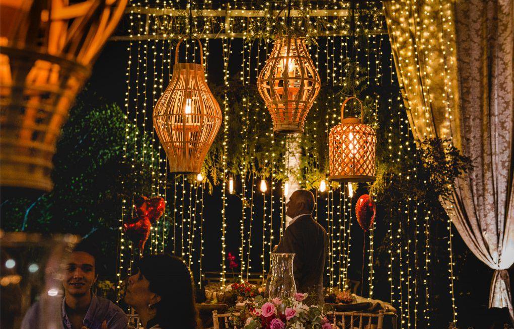 Decoração de casamento à tarde