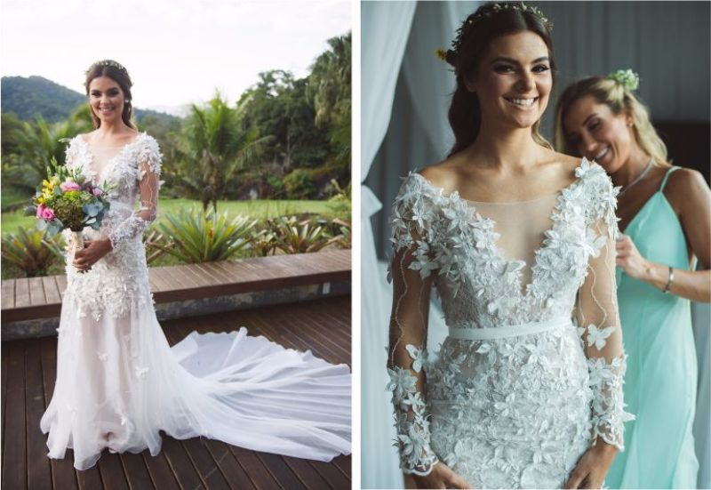Vestido de noiva com tule