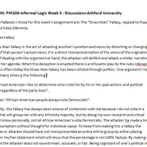 SOLUTION: PHI103-Informal Logic Week 3 - Discussions-Ashford University