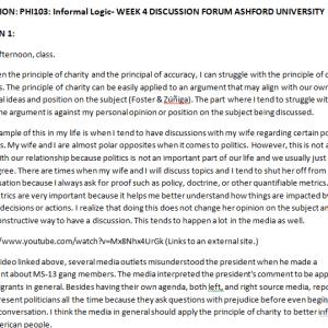 SOLUTION: PHI103: Informal Logic- WEEK 4 DISCUSSION FORUM ASHFORD UNIVERSITY
