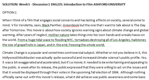 SOLUTION: Week 5 - Discussion 1 ENG225: Introduction to Film ASHFORD UNIVERSITY