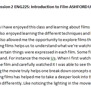 SOLUTION: Week 5 - Discussion 2 ENG225: Introduction to Film ASHFORD UNIVERSITY