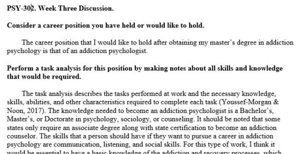 PSY302: Industrial/Organizational Psychology (PSH2045A) Week 3 - Discussion Forum