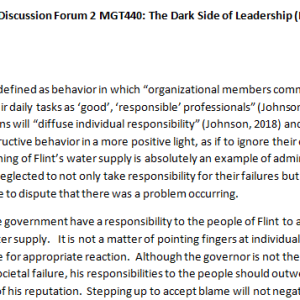 SOLUTION: Week 2 - Discussion Forum 2 MGT440: The Dark Side of Leadership (BIG2040A) ASHFORD UNIVERSITY