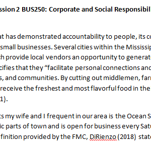 Week 1 - Discussion 2 BUS250: Corporate and Social Responsibility (CUC1931B) ASHFORD UNIVERSITY