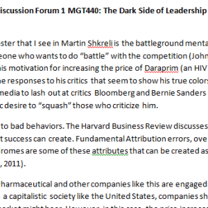 SOLUTION: Week 2 - Discussion Forum 1 MGT440: The Dark Side of Leadership (BIG2040A) ASHFORD UNIVERSITY