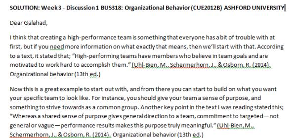 Week 3 - Discussion 1 BUS318: Organizational Behavior (CUE2012B) ASHFORD UNIVERSITY