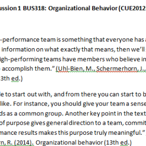 Week 3 - Discussion 1 BUS318: Organizational Behavior (CUE2012B) ASHFORD UNIVERSITY