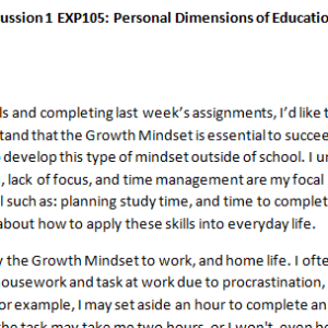Week 2 - Discussion 1 EXP105: Personal Dimensions of Education (L301829J) ASHFORD UNIVERSITY