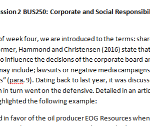 Week 4 - Discussion 2 BUS250: Corporate and Social Responsibility (CUC1931B) ASHFORD UNIVERSITY
