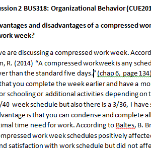 Week 2 - Discussion 2 BUS318: Organizational Behavior (CUE2012B) ASHFORD UNIVERSITY