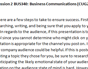 Week 5 - Discussion 2 BUS340: Business Communications (CUG2018B) ASHFORD UNIVERSITY