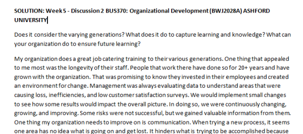 Week 5 - Discussion 2 BUS370: Organizational Development (BWJ2028A) ASHFORD UNIVERSITY