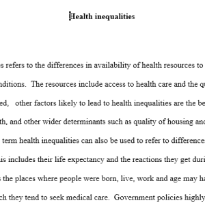 health inequality case study